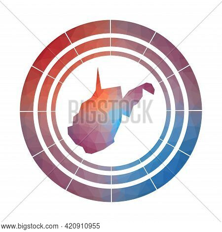 West Virginia Badge. Bright Gradient Logo Of Us State In Low Poly Style. Multicolored West Virginia