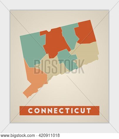 Connecticut Poster. Map Of The Us State With Colorful Regions. Shape Of Connecticut With Us State Na