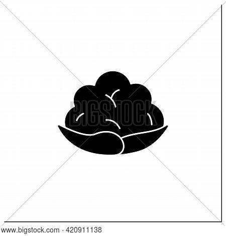 Cauliflower Glyph Icon. Edible Vegetable.dietary Food. Vegetarian, Healthy Nutrition. Health Benefit