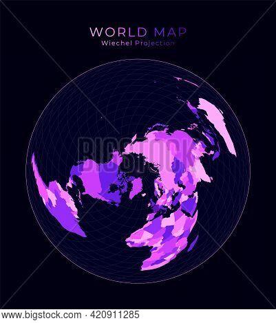 World Map. Wiechel Projection. Digital World Illustration. Bright Pink Neon Colors On Dark Backgroun