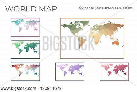 Low Poly World Map Set. Cylindrical Stereographic Projection. Collection Of The World Maps In Geomet