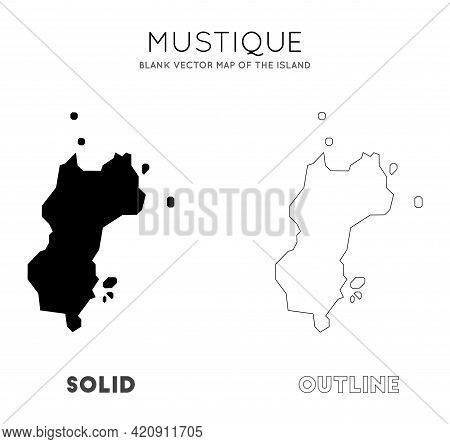 Mustique Map. Blank Vector Map Of The Island. Borders Of Mustique For Your Infographic. Vector Illus