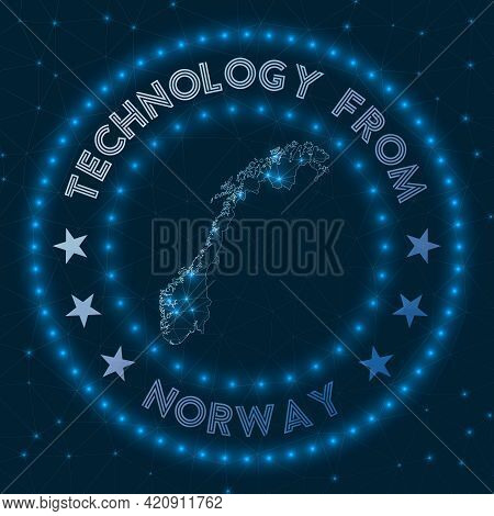 Technology From Norway. Futuristic Geometric Badge Of The Country. Technological Concept. Round Norw
