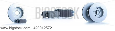 Car Motor Parts. Auto Motor Mechanic Spare Or Automotive Piece On Dark Background. Set Of New Metal