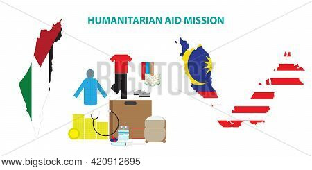 A Vector Of Humanitarian Aid From Malaysia To Palestine. Humanitarian Aid Consist Of Food, Medical S