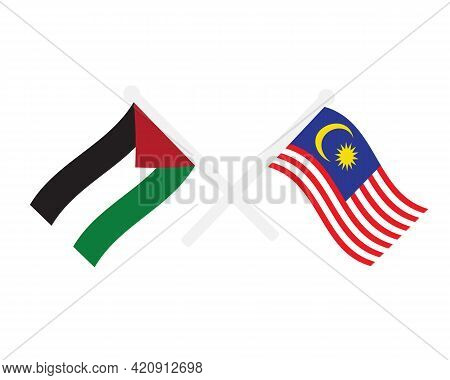 A Vector Of Palestine And Malaysia Flag Waving. Malaysia Support Palestinian On Palestine And Israel