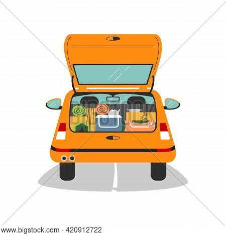 Car Trunk Is Open And Full Of Camping Equipment. Automobile, Back View With Tent, Sleeping Bag, Dish