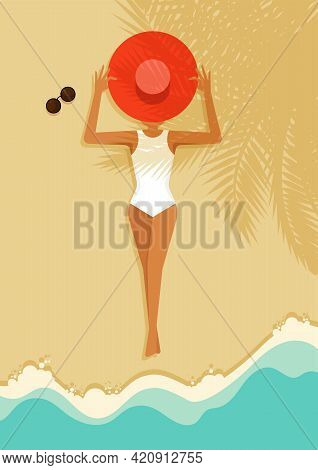 A Women Laying Down On Beautiful Beach. Summer Time And Happy Holiday Concept Flat Design Style. Can
