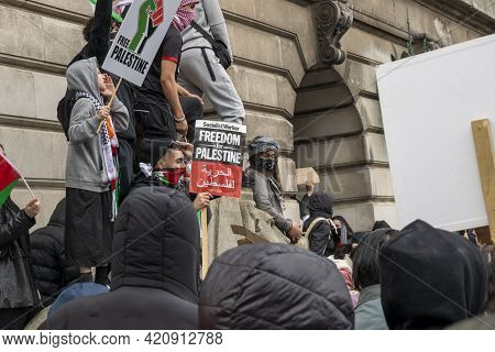 Nottingham, Nottinghamshire, England - May 15, 2021. Young Protesters With Placards