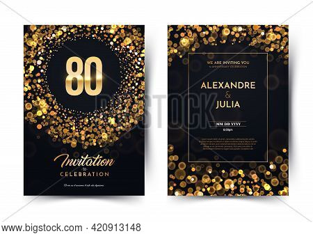 80th Years Birthday Vector Black Paper Luxury Invitation Double Card. Eighty Years Wedding Anniversa