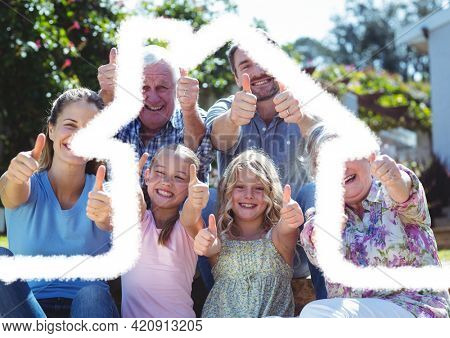 House outline over a happy multigenerational family giving thumbs up, family and housing concepts. digitally generated image