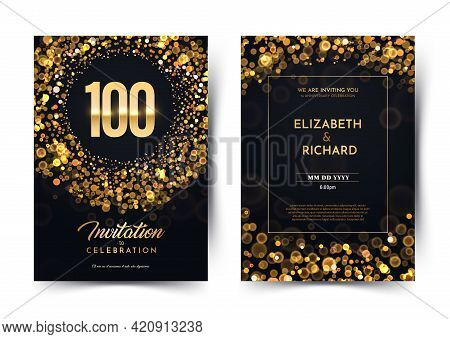 100th Years Birthday Vector Black Paper Luxury Invitation Double Card. One Hundred Years Wedding Ann