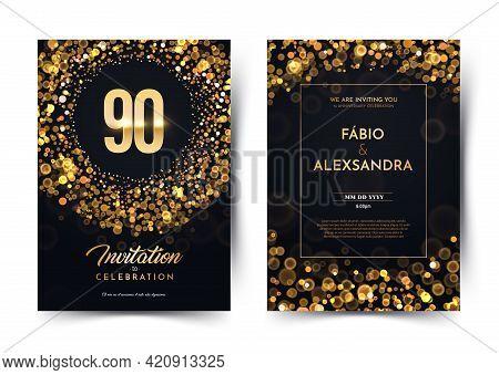 90th Years Birthday Vector Black Paper Luxury Invitation Double Card. Ninety Years Wedding Anniversa