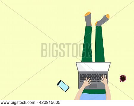 Work At Home, Study At Home, Stay At Home Concept. Top View Of Freelancer Working Online At Home Wit