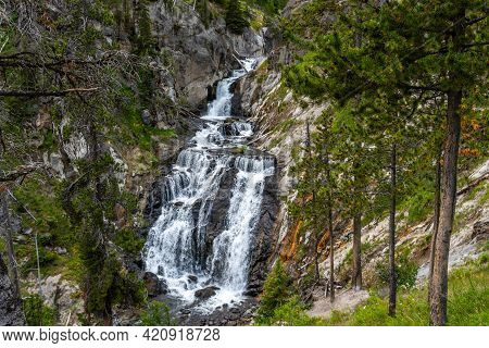 The Firehole Falls In Yellowstone National Park, Wyoming