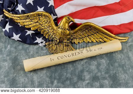 Detail Document Vintage Parchment Of American Constitution The United States Declaration Of Independ