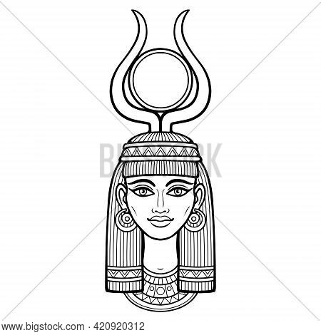 Animation Portrait Of Beautiful Egyptian Woman In Ancient Hairstyle, With Horns And A Disk Of Sun On