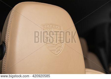 Novosibirsk, Russia - May 16, 2021: Porsche Cayenne, Close-up  Beige Headrest Driver's Seat Made Of