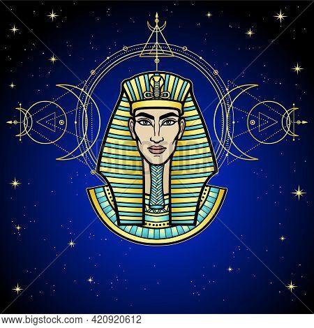 Animation Color Portrait: Egyptian Man Pharaoh. Background - Night Star Sky, Sacred Geometry. Vector