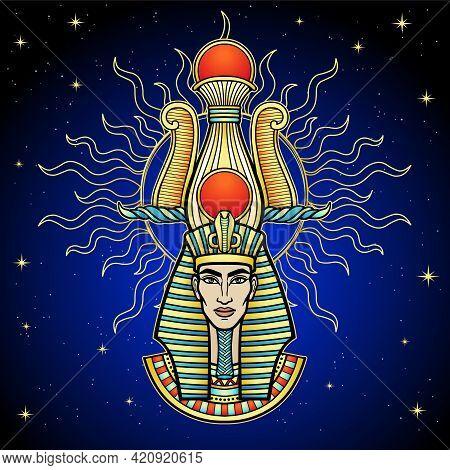Animation Color Portrait Egyptian Pharaoh Man In Glow Of The Sun. Background - Night Star Sky. Vecto