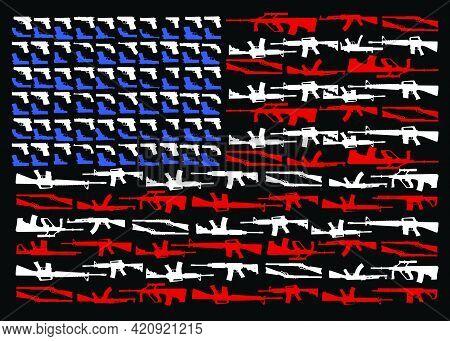 Military Concept Assault And Sniper Rifles, Pistal, Shot Gun Shape Of American Flag Vector Illustrat