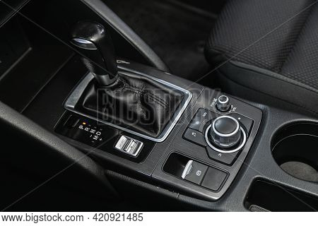 Novosibirsk, Russia - May 16, 2021: Mazda Cx-5, Close-up View Of The Automatic Gearbox Lever. Interi
