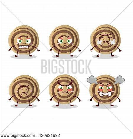 Cookies Spiral Cartoon Character With Various Angry Expressions