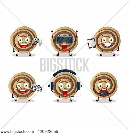 Cookies Spiral Cartoon Character Are Playing Games With Various Cute Emoticons