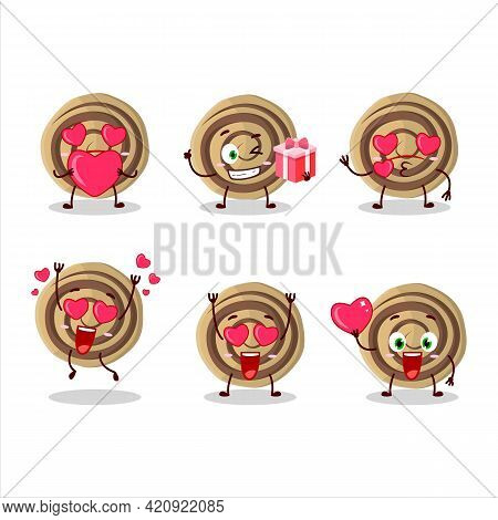 Cookies Spiral Cartoon Character With Love Cute Emoticon