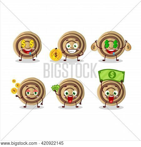 Cookies Spiral Cartoon Character With Cute Emoticon Bring Money