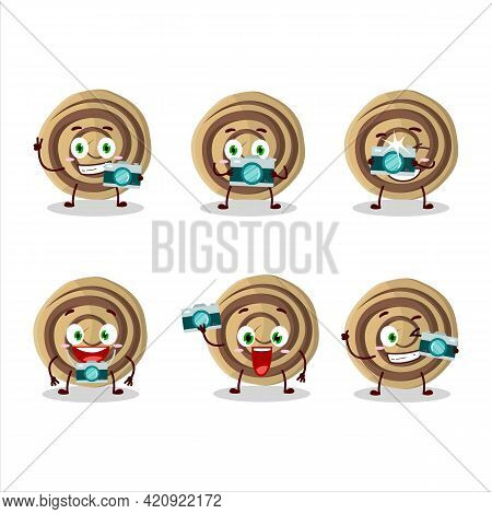Photographer Profession Emoticon With Cookies Spiral Cartoon Character