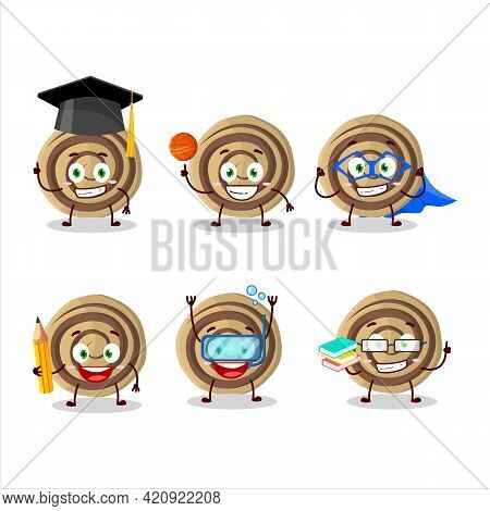 School Student Of Cookies Spiral Cartoon Character With Various Expressions