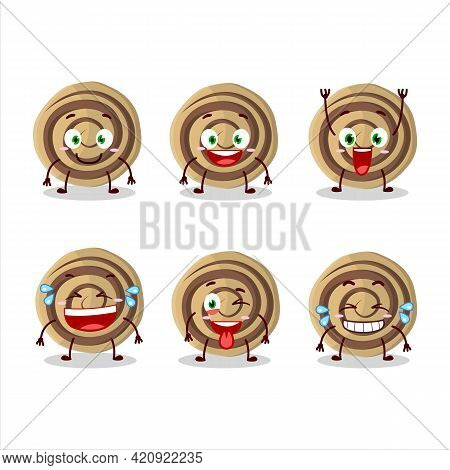 Cartoon Character Of Cookies Spiral With Smile Expression