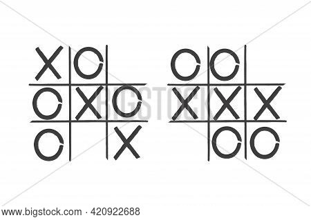 Tic Tac Toe In Hand Drawn Style.tick Symbol. Game Background Concept. Stock Image. Vector Illustrati