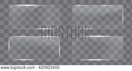 Transparent Plate. Plexiglass Plate. Glass Plate. Transparent Surface. Vector Illustration.
