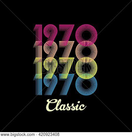 1970 Vector Vintage Retro Tshirt Design Black Background