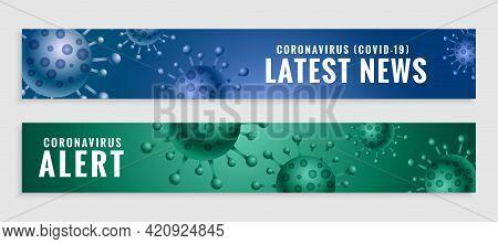 Coronavirus Covid19 Latest News And Alert Banners Set