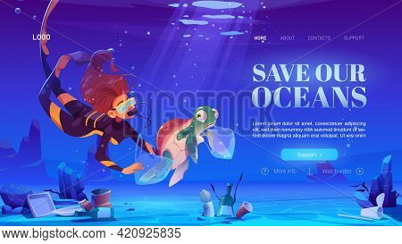Woman Scuba Diver With Turtle In Plastic Bag Underwater In Sea. Ocean Pollution By Trash, Global Lit