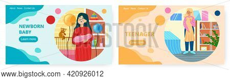 Child Development Landing Page Design, Web Banner Vector Templates. Newborn Baby Growing, Becoming T