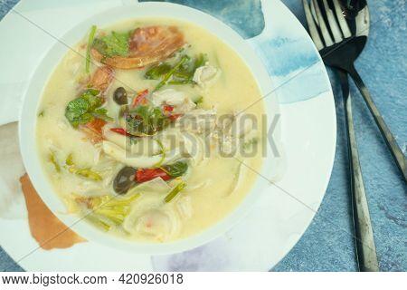 Creamy Chicken Soup With Lemongrass, Kaffir Lime Leaves, Bird's Eye Chilli Peppers, Galangal. Tom Kh