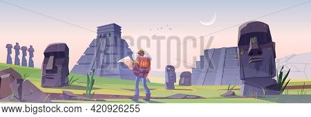 Hiker Man On Easter Island With Ancient Mayan Pyramids And Moai Statue. Vector Cartoon Landscape Wit