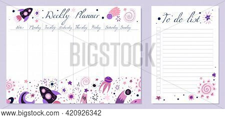 Set Of Day Organization Templates With Child Space Element. Weekly Planner And To Do List. Vector Ca