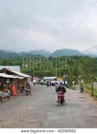 Tourists Point Near Mount Merapi, Indonesia