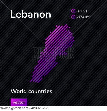 Vector Creative Digital Neon Flat Line Art Abstract Simple Map Of Lebanon With Violet, Purple, Pink
