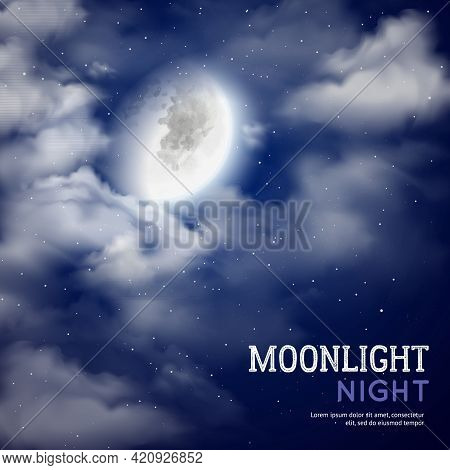 Moonlight Night Poster With Moon And Clouds On Dark Sky Background Vector Illustration