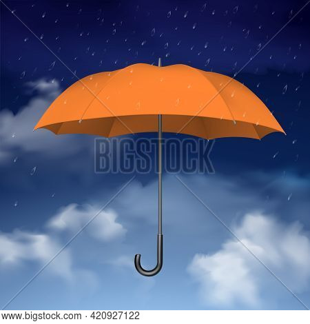 Colorful Design Concept Of Orange Umbrella At Blue Sky Background With Clouds And Raindrops Vector I