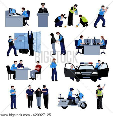 Policeman People At Office And Outside With Police Car And Situation Arrest Of Offender And Interrog