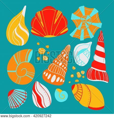 Set Of Cartoon Seashells With Sand And Doodle Ornament On Blue Background. Flat Design Element Of Oc