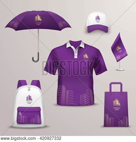 Promotional Souvenirs Design Icons For Corporate Identity With Violet And White Color Shapes Isolate