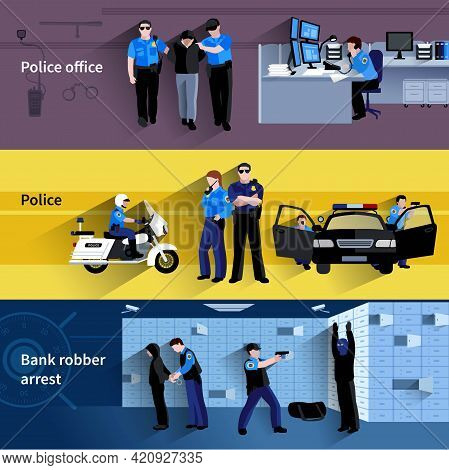Police Horizontal Banners Of Policeman People In Office And Outdoor And At Bank Robber Arrest Flat S